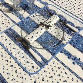 "Provence square coated cotton tablecloth ""Tradition"" blue and white by ""Marat d'Avignon"""