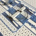 """Provence square coated cotton tablecloth """"Tradition"""" blue and white by """"Marat d'Avignon"""""""