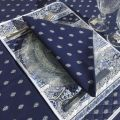 """Provence rectangular coated cotton tablecloth """"Bastide"""" blue and white by """"Marat d'Avignon"""""""