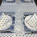 """Provence rectangular coated cotton tablecloth """"Bastide"""" white and blue by """"Marat d'Avignon"""""""