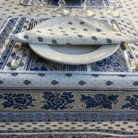 "Provence square coated cotton tablecloth ""Bastide"" white and blue by ""Marat d'Avignon"""
