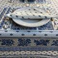 "Provence square coated cotton tablecloth ""Bastide"" white and blue by ""Marat d'Avignon"""
