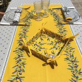 """Nappe provençale rectangulaire en coton enduit """"Lauris"""" lavandes et olives jaune"""