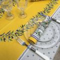 """Provence rectangular tablecloth in coated cotton """"Lauris """" yellow"""