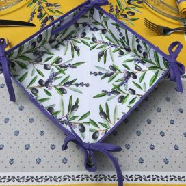 "Coated cotton bread basket with laces, ""Lauris"" Lavender and Olives ecru"