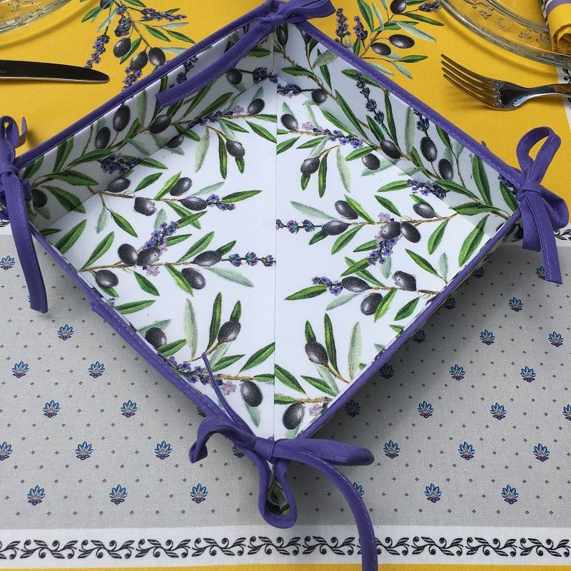 """Coated cotton bread basket with laces, """"Lauris"""" Lavender and Olives ecru"""