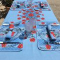 "Rectangular placed provence cotton tablecloth ""Poppies and Lavender"" blue from Tissus Toselli in Nice"