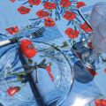 """Rectangular placed provence cotton tablecloth """"Poppies and Lavender"""" blue from Tissus Toselli in Nice"""
