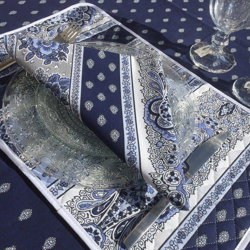 """Serviette en coton """"Bastide"""" Bleue et blanche """"Marat d'Avignon"""