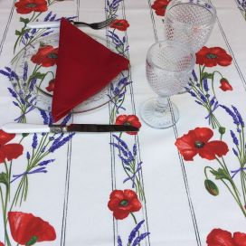 "Rectangular coated cotton tablecloth ""Poppies and Lavender"" off white"
