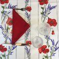 """Rectangular coated cotton tablecloth """"Coquelicots et Lavande"""" ecru"""