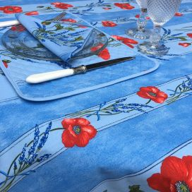 """Nappe rectangulaire en coton enduit """"Coquelicots et lavande"""" bleu"""
