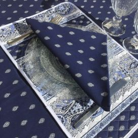"Cotton table napkins ""Bastide"" blue Marat d'Avignon"