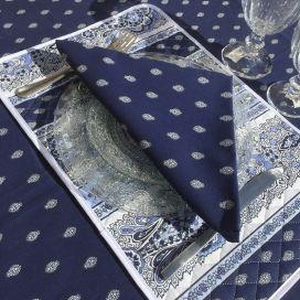 """Serviette en coton """"Bastide"""" Bleue  """"Marat d'Avignon"""