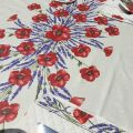 "Rectangular placed coated cotton tablecloth ""Poppies and Lavender"" off white"