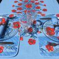 """Nappe rectangulaire placée en coton enduit """"Coquelicots et lavande""""  bleu"""