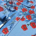 "Rectangular placed coated cotton tablecloth ""Poppies and Lavender"" blue"