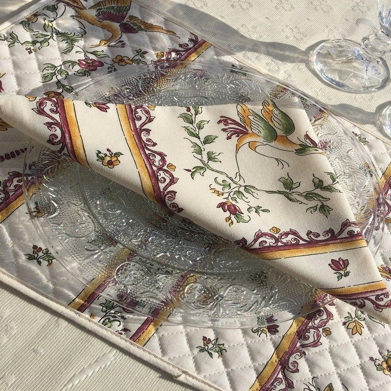 """Serviette en coton """"Moustiers"""" rose fond écru"""