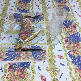 "Provence rectangular coated cotton tablecloth "" Roses et Lavandes"""