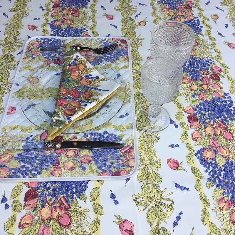 "Rectangular coated coton tablecloth ""Roses and lavender"""