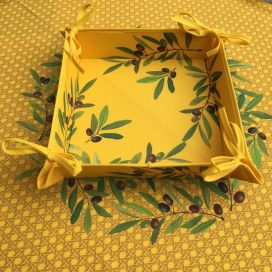 """Coated cotton bread basket with laces, """"Nyons"""" Olives yellow"""