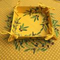 "Coated cotton bread basket with laces, ""Nyons"" Olives yellow"