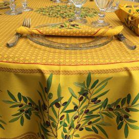 """Nappe provençale ronde en coton """"Nyons"""" jaune, TISSUS TOSELLI"""