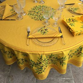 "Coated cotton round tablecloth ""Nyons"" yellow, by TISSUS TOSELLI"