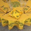 """Coated cotton round tablecloth """"Nyons"""" yellow, by TISSUS TOSELLI"""
