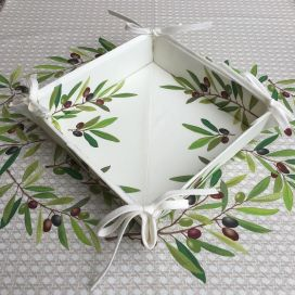 "Coated cotton bread basket with laces, ""Nyons"" Olives ecru"