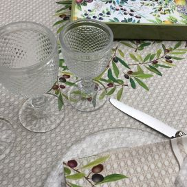 "Rectangular centred cotton tablecloth ""Nyons"" ecru"