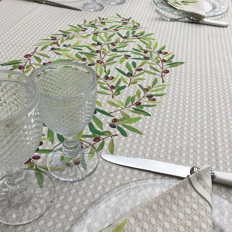 """Nappe provençale rectangulaire en coton enduit """"Nyons"""" Olives écru"""
