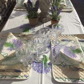 """Nappe provençale rectangulaire placée en coton enduit """"Bouquet de lavande"""" écru"""