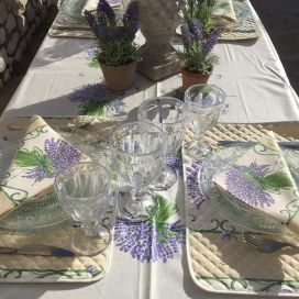 "Provence rectangular centred coated cotton tablecloth ""Bouquet de Lavande"" off white"