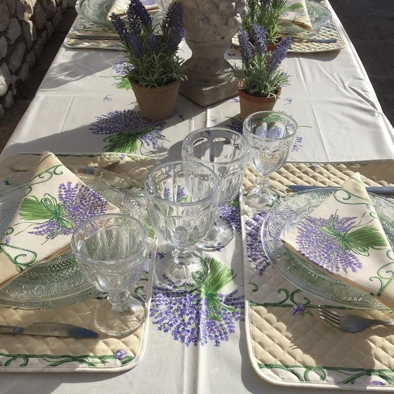"Provence centred coated coton tablecloth ""Bouquet de Lavande"" ecru"