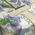"Provence coated cotton tablecloth ""Bouquet de Lavande"" off white"