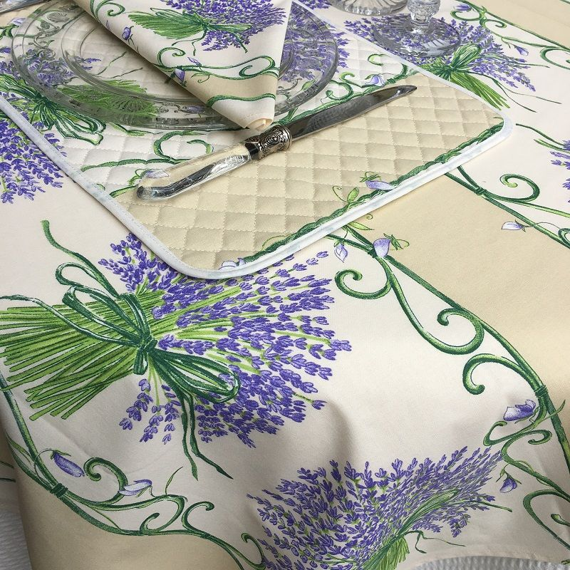 "Provence coated cotton tablecloth ""Bouquet de Lavande"" off white, TISSUS TOSELLI , NICE"