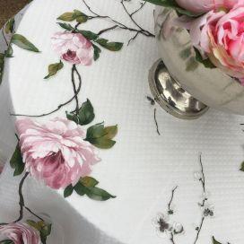 """Nappe rectangulaire en organza """"Carmina"""" roses"""