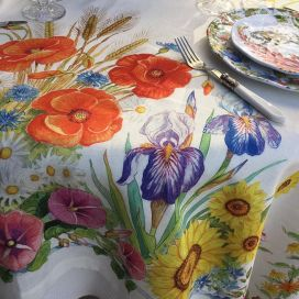 "Tessitura Toscana Telerie, square linen tablecloth ""Floralia"""