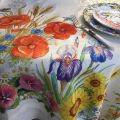 "Tessitura Toscana Telerie, square linen tablecloth ""Floralia"""
