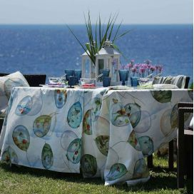 "Tessitura Toscana Tellerie, round linen tablecloth ""Balloons"""
