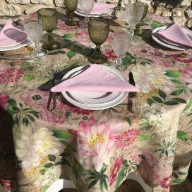 "Tessitura Toscana Telerie, nappe ronde en lin  ""La Vie en Rose"""