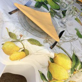 "Tessitura Toscana Tellerie, round linen tablecloth ""Limoncello"""