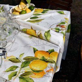 """Tessitura Toscana Telerie, nappe carrée en lin  """"Limoncello"""""""