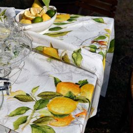 "Tessitura Toscana Tellerie, square linen tablecloth ""Limoncello"""
