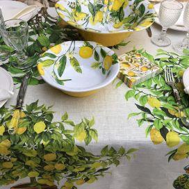 "Tessitura Toscana Tellerie, square linen tablecloth ""Limonaia"""