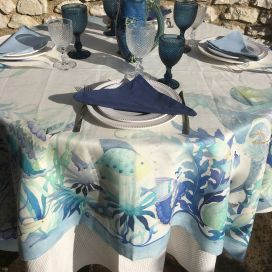 "Tessitura Toscana Telerie, square linen tablecloth ""Tortuga"""