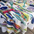 "Tessitura Toscana Tellerie, coton square tablecloth ""Poisson Bleu"""