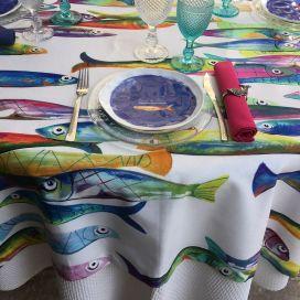 """Tessitura Toscana Tellerie, round coton tablecloth """"Poisson Bleu"""""""