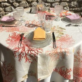 "Tessitura Toscana Telerie, square linen tablecloth ""Corail"""